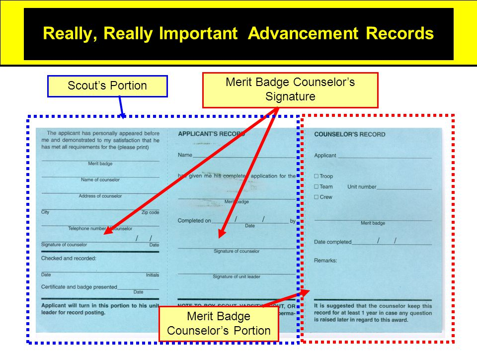 Really, Really Important Advancement Records Merit Badge Counselor's Portion Merit Badge Counselor's Signature Scout's Portion