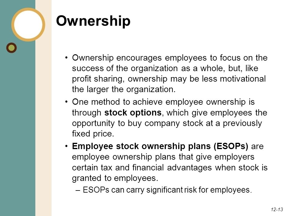 12-13 Ownership Ownership encourages employees to focus on the success of the organization as a whole, but, like profit sharing, ownership may be less motivational the larger the organization.