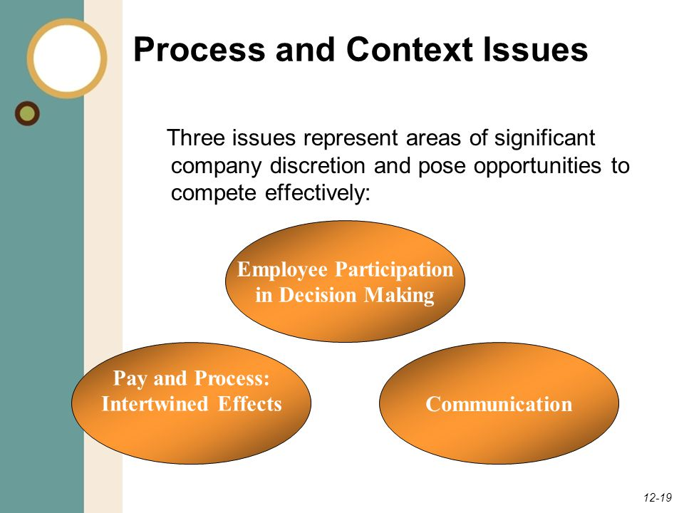 12-19 Process and Context Issues Three issues represent areas of significant company discretion and pose opportunities to compete effectively: Employee Participation in Decision Making Communication Pay and Process: Intertwined Effects