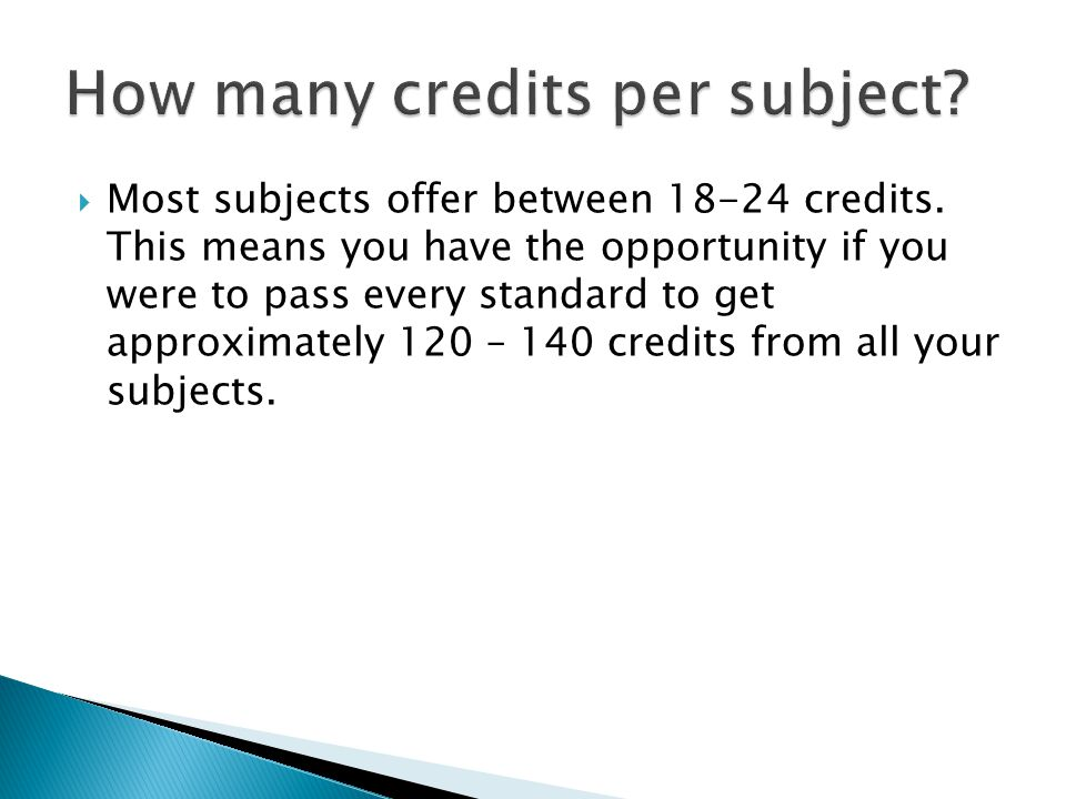  Most subjects offer between credits.