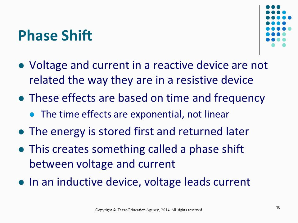 Phase Shift Voltage and current in a reactive device are not related the way they are in a resistive device These effects are based on time and frequency The time effects are exponential, not linear The energy is stored first and returned later This creates something called a phase shift between voltage and current In an inductive device, voltage leads current 10 Copyright © Texas Education Agency, 2014.
