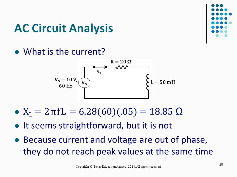 AC Circuit Analysis What is the current.