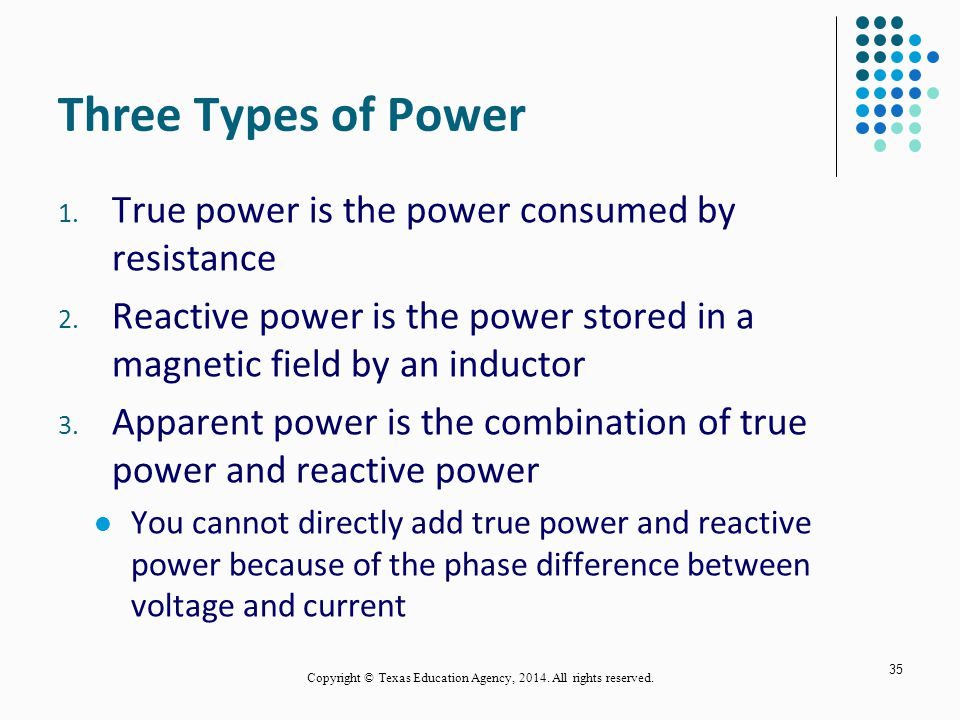Three Types of Power 1. True power is the power consumed by resistance 2.