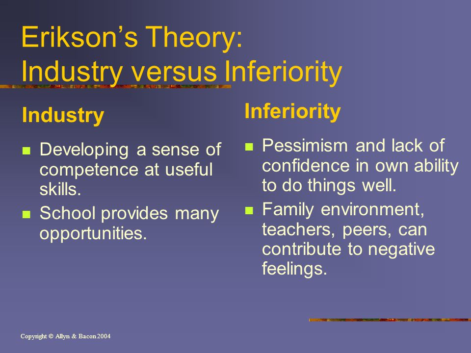 Copyright © Allyn & Bacon 2004 Erikson's Theory: Industry versus Inferiority Industry Developing a sense of competence at useful skills.