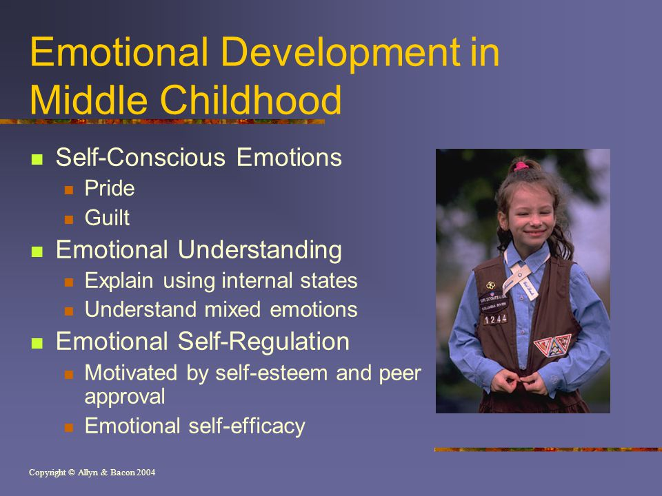 Copyright © Allyn & Bacon 2004 Emotional Development in Middle Childhood Self-Conscious Emotions Pride Guilt Emotional Understanding Explain using internal states Understand mixed emotions Emotional Self-Regulation Motivated by self-esteem and peer approval Emotional self-efficacy