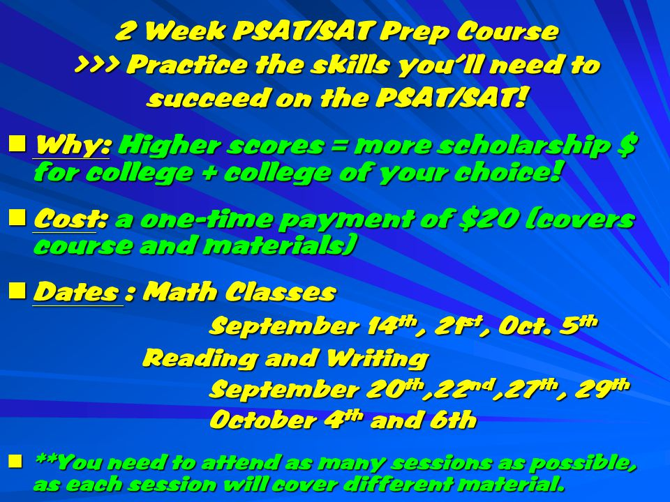 2 Week PSAT/SAT Prep Course >>> Practice the skills you'll need to succeed on the PSAT/SAT.