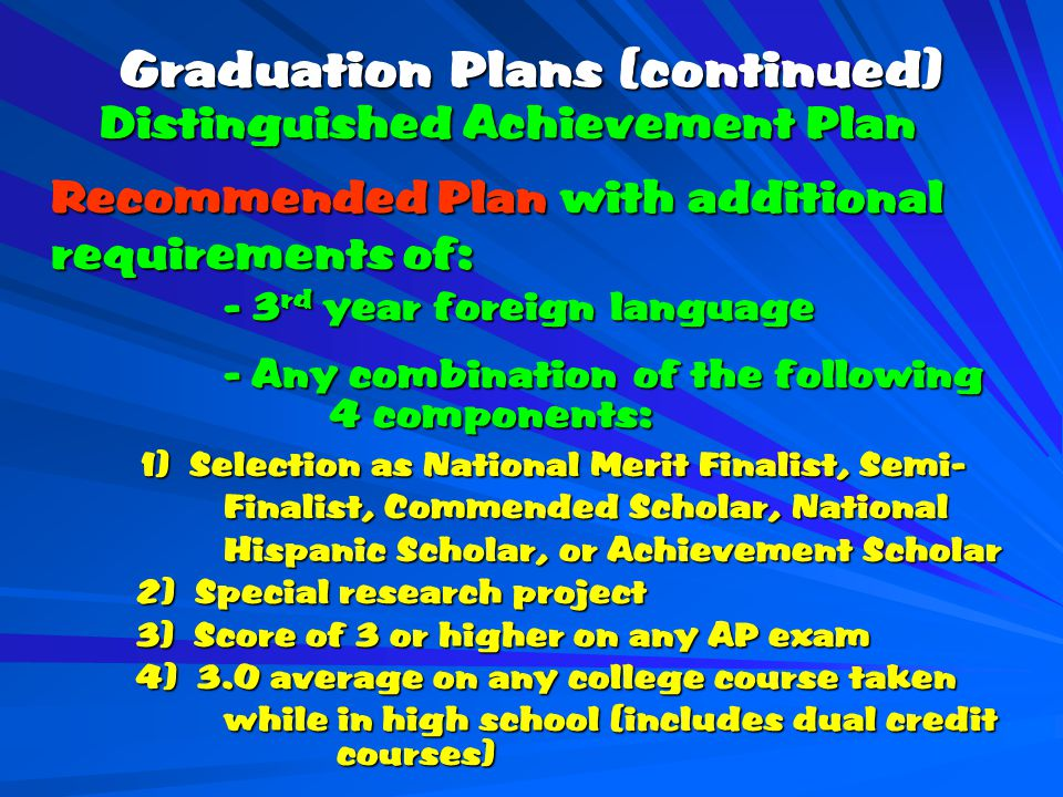 Graduation Plans (continued) Distinguished Achievement Plan Distinguished Achievement Plan Recommended Plan with additional Recommended Plan with additional requirements of: - 3 rd year foreign language - Any combination of the following 4 components: 1) Selection as National Merit Finalist, Semi- 1) Selection as National Merit Finalist, Semi- Finalist, Commended Scholar, National Hispanic Scholar, or Achievement Scholar 2) Special research project 2) Special research project 3) Score of 3 or higher on any AP exam 3) Score of 3 or higher on any AP exam 4) 3.0 average on any college course taken 4) 3.0 average on any college course taken while in high school (includes dual credit courses)