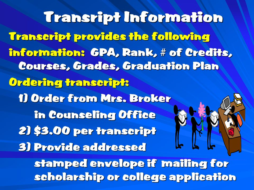 Transript Information Transcript provides the following information: GPA, Rank, # of Credits, Courses, Grades, Graduation Plan Ordering transcript: 1) Order from Mrs.