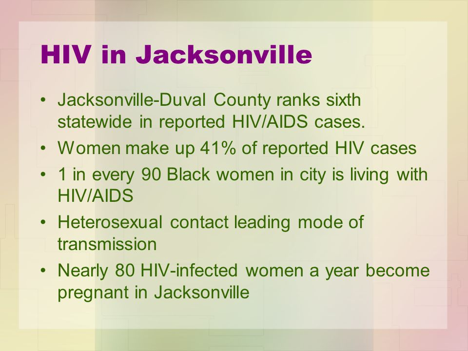 HIV in Jacksonville Jacksonville-Duval County ranks sixth statewide in reported HIV/AIDS cases.