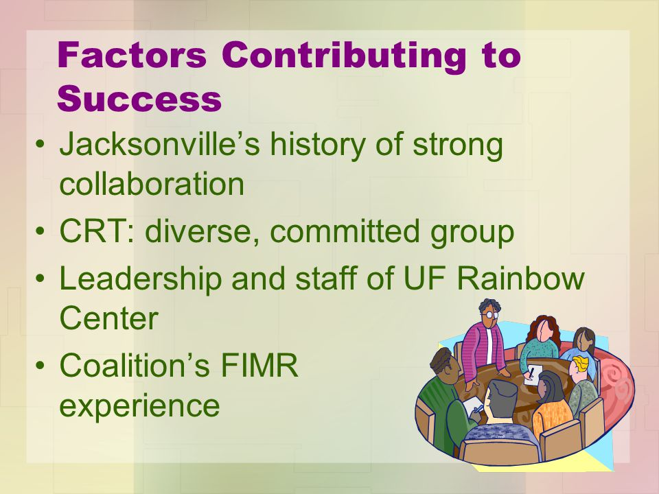 Factors Contributing to Success Jacksonville's history of strong collaboration CRT: diverse, committed group Leadership and staff of UF Rainbow Center Coalition's FIMR experience