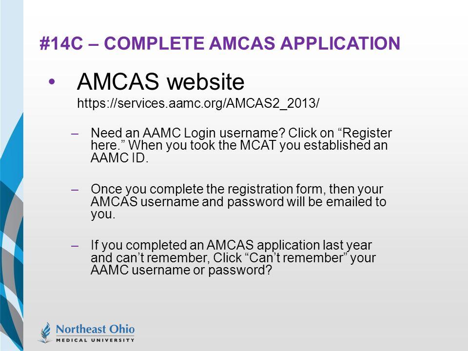 Amcas log in