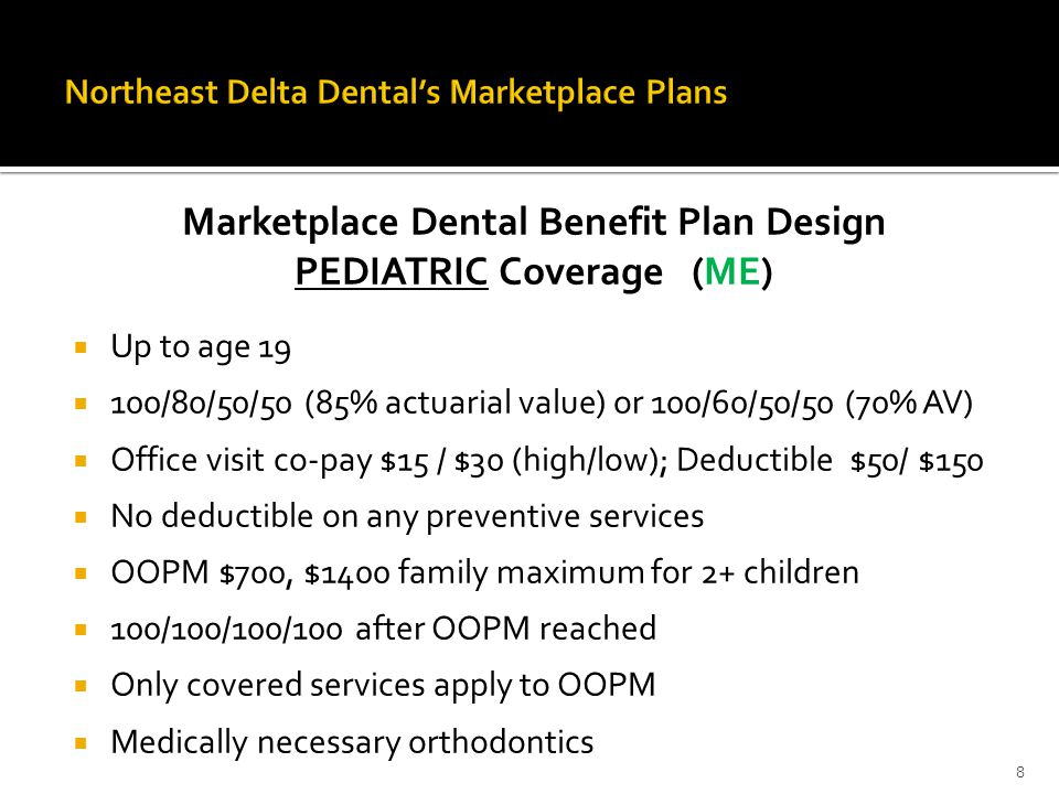 Marketplace Dental Benefit Plan Design PEDIATRIC Coverage (ME)  Up to age 19  100/80/50/50 (85% actuarial value) or 100/60/50/50 (70% AV)  Office visit co-pay $15 / $30 (high/low); Deductible $50/ $150  No deductible on any preventive services  OOPM $700, $1400 family maximum for 2+ children  100/100/100/100 after OOPM reached  Only covered services apply to OOPM  Medically necessary orthodontics 8