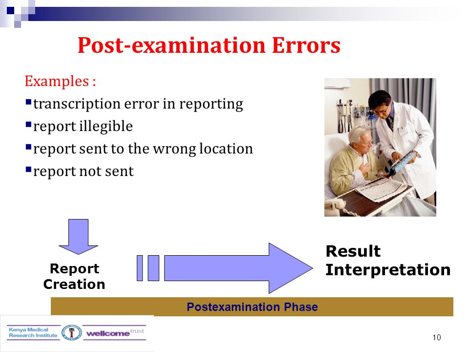 10 Post-examination Errors Report Transport Report Creation Postexamination Phase Result Interpretation Examples :  transcription error in reporting  report illegible  report sent to the wrong location  report not sent