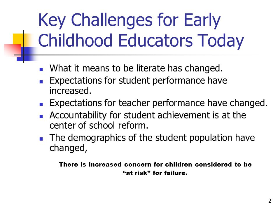 2 Key Challenges for Early Childhood Educators Today What it means to be literate has changed.