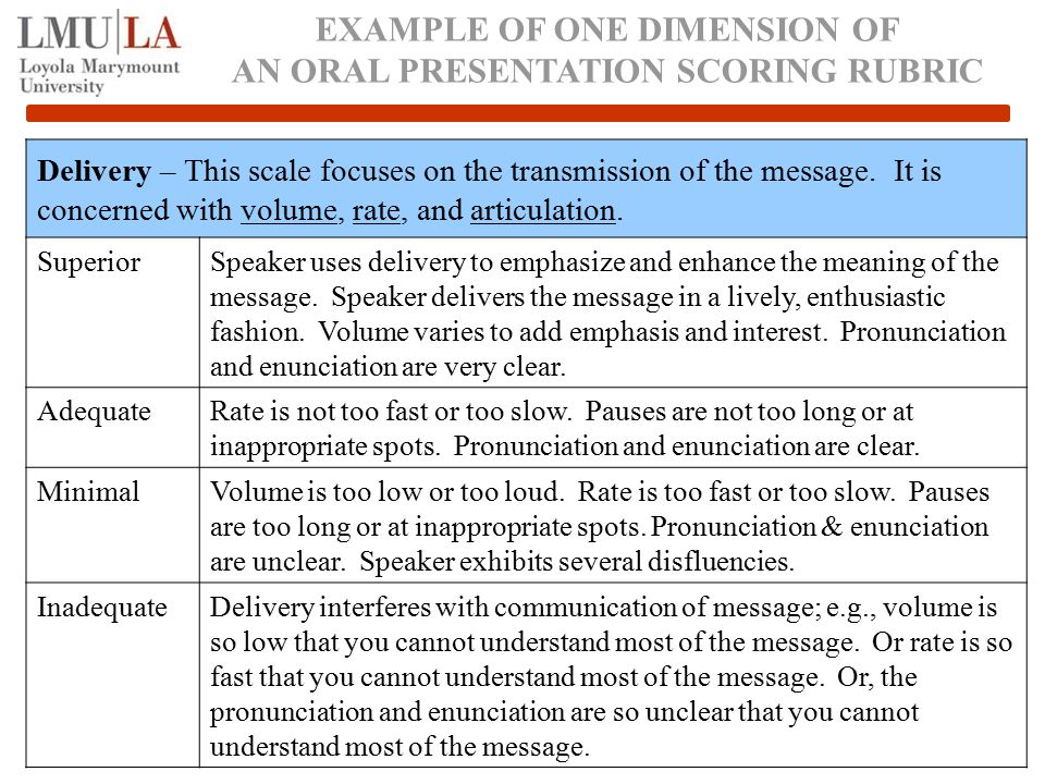 EXAMPLE OF ONE DIMENSION OF AN ORAL PRESENTATION SCORING RUBRIC Delivery – This scale focuses on the transmission of the message.