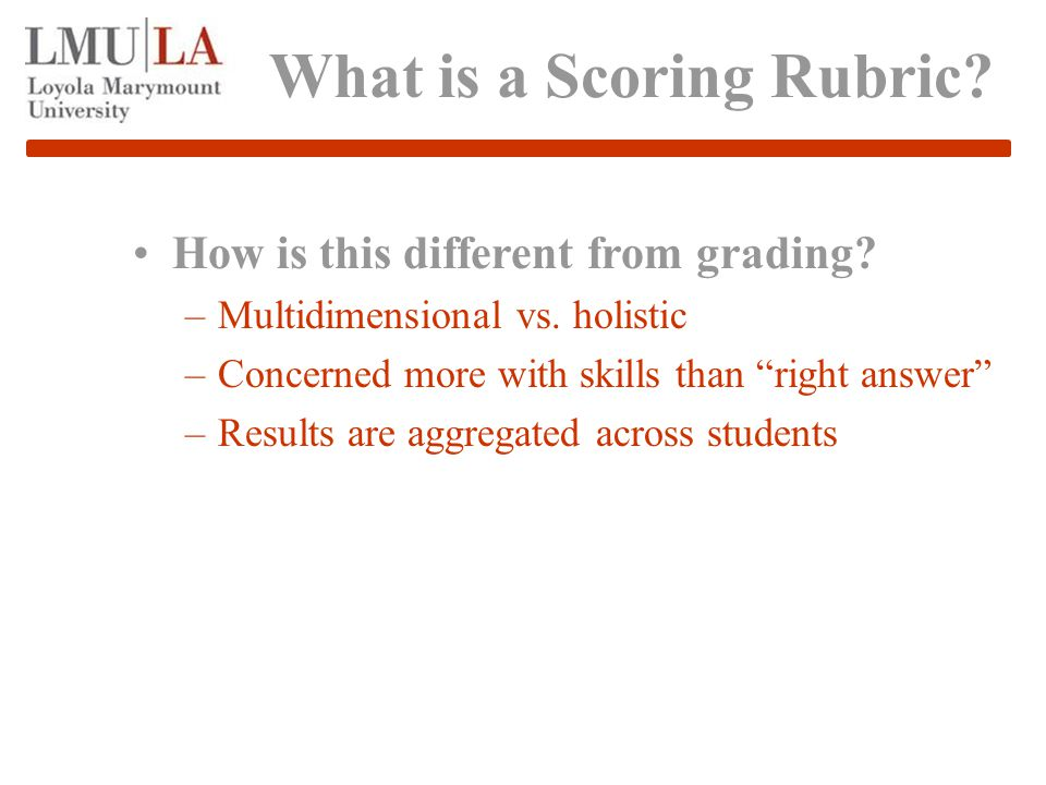 What is a Scoring Rubric. How is this different from grading.