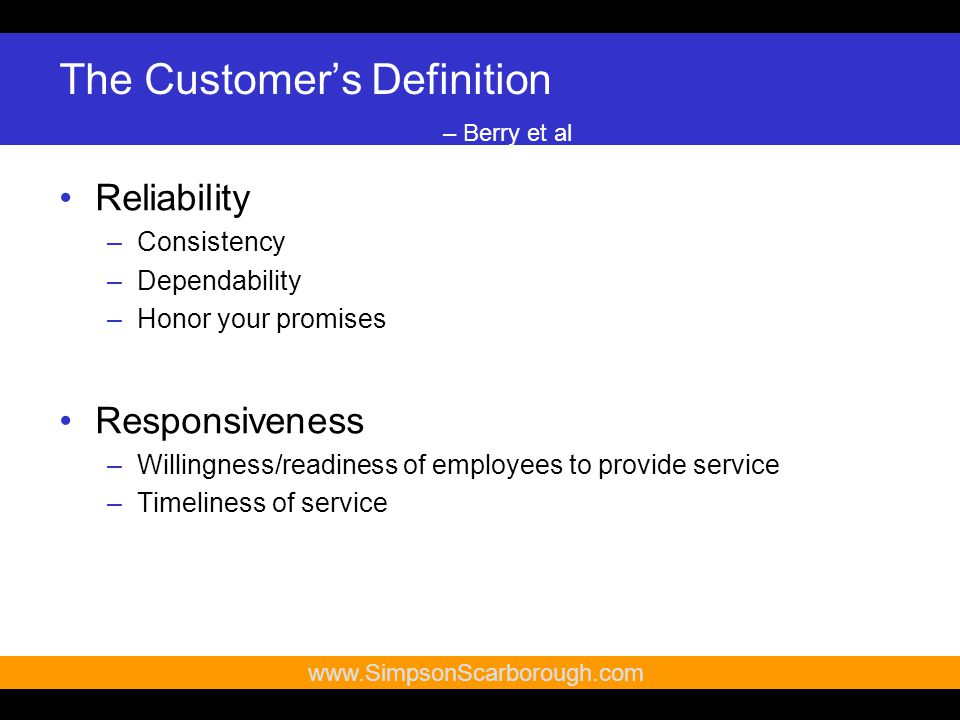 14   The Customer's Definition – Berry et al Reliability –Consistency –Dependability –Honor your promises Responsiveness –Willingness/readiness of employees to provide service –Timeliness of service