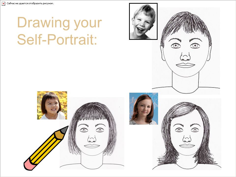 A closer view at Hair Drawing your Self-Portrait: Look at hair in your mirror and draw what you see.