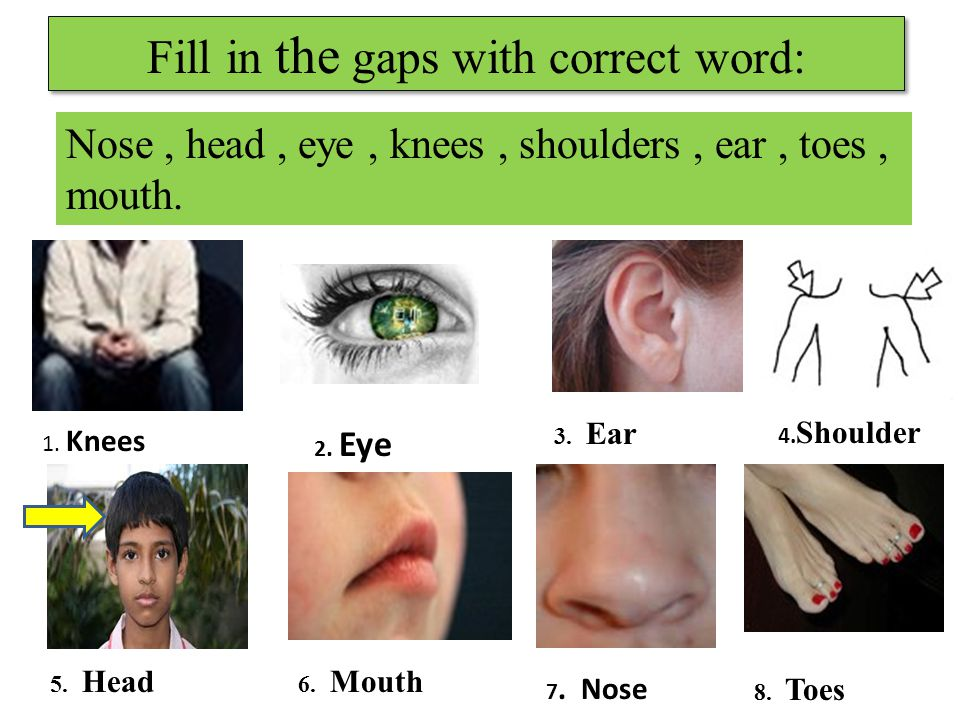 Fill in the gaps with correct word: 1. Knees 2. Eye 4.
