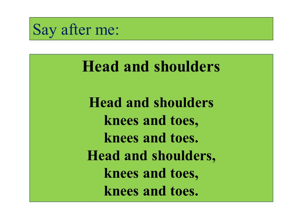 Head and shoulders knees and toes, knees and toes.