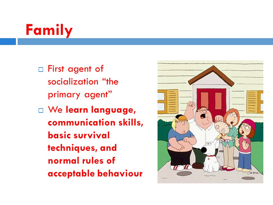 Family  First agent of socialization the primary agent  We learn language, communication skills, basic survival techniques, and normal rules of acceptable behaviour