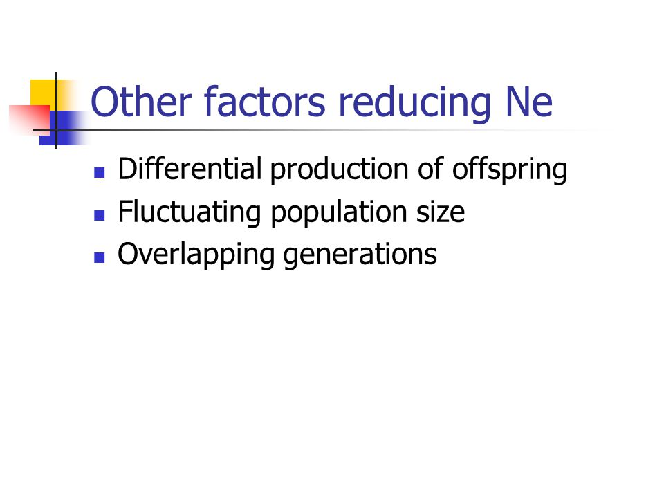 Other factors reducing Ne Differential production of offspring Fluctuating population size Overlapping generations