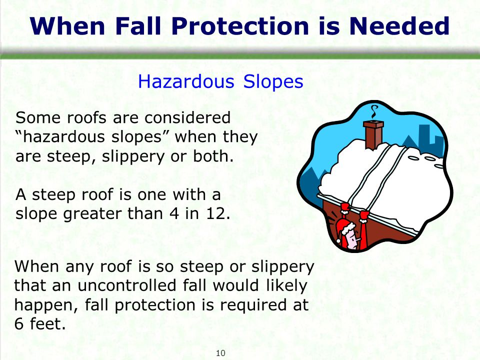 When Fall Protection is Needed Hazardous Slopes Some roofs are considered hazardous slopes when they are steep, slippery or both.