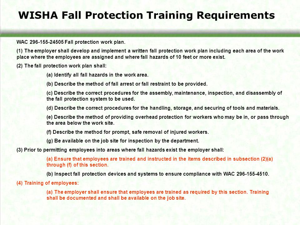 WAC Fall protection work plan.