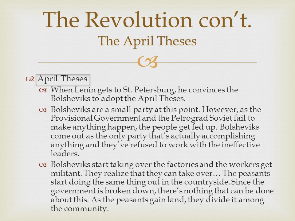 Main points of lenin's april theses