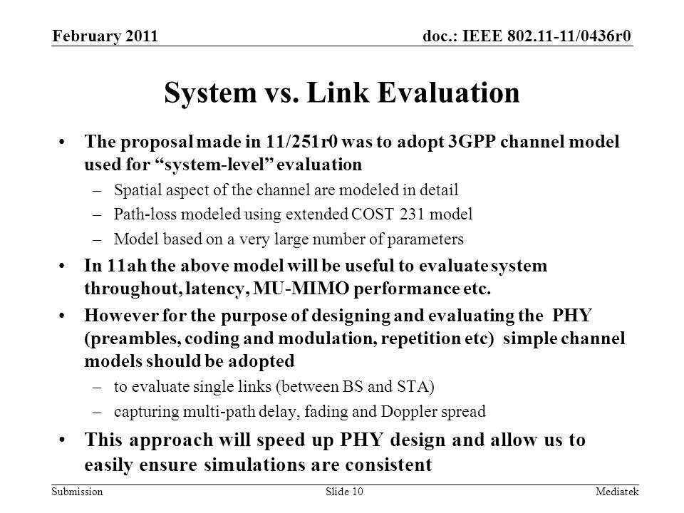 doc.: IEEE /0436r0 Submission System vs.