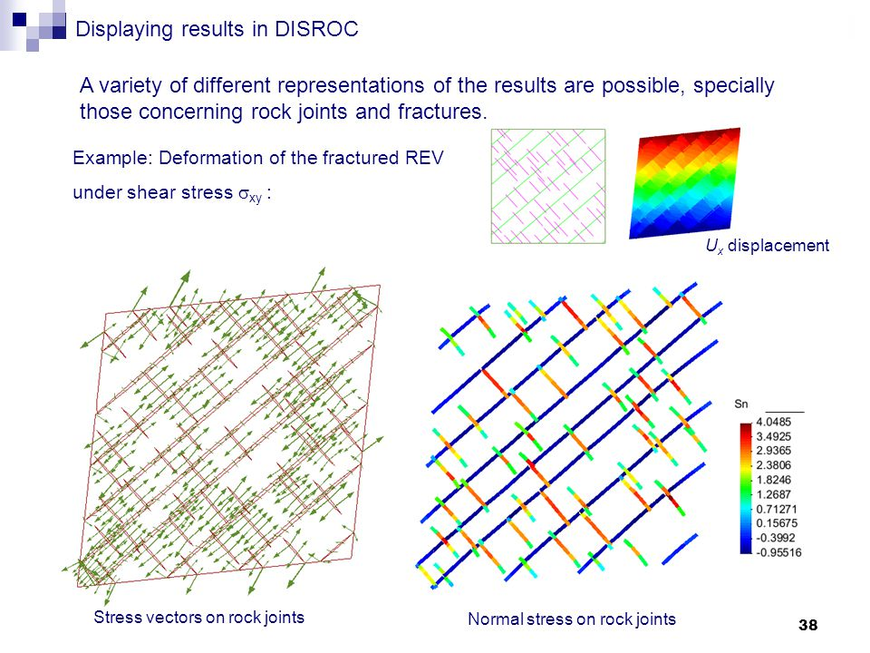 38 Displaying results in DISROC Stress vectors on rock joints Normal stress on rock joints A variety of different representations of the results are possible, specially those concerning rock joints and fractures.