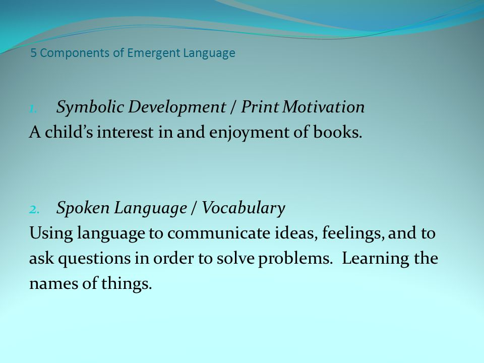 5 Components of Emergent Language 1.