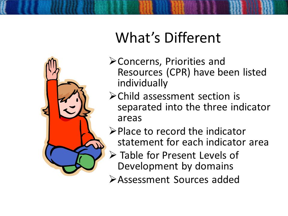 What's Different  Concerns, Priorities and Resources (CPR) have been listed individually  Child assessment section is separated into the three indicator areas  Place to record the indicator statement for each indicator area  Table for Present Levels of Development by domains  Assessment Sources added