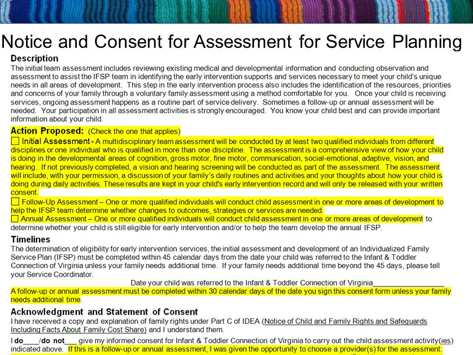 Notice and Consent for Assessment for Service Planning