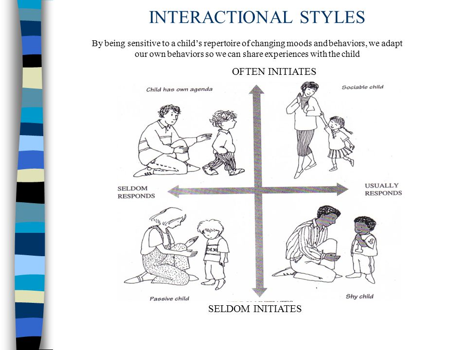 INTERACTIONAL STYLES OFTEN INITIATES SELDOM INITIATES By being sensitive to a child's repertoire of changing moods and behaviors, we adapt our own behaviors so we can share experiences with the child