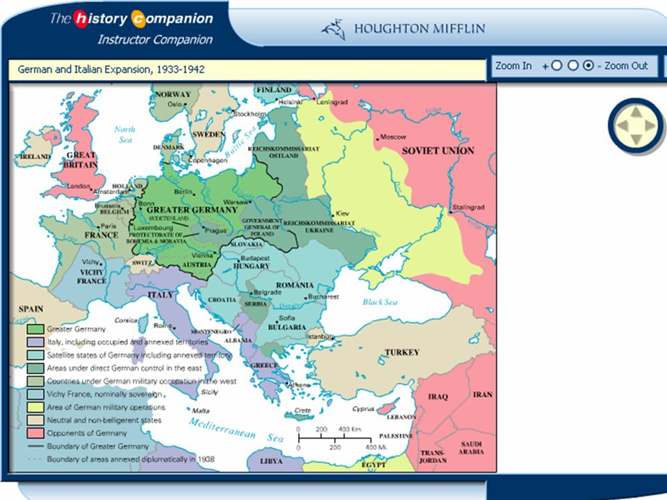 Map: German and Italian Expansion, Copyright © Houghton Mifflin Company.