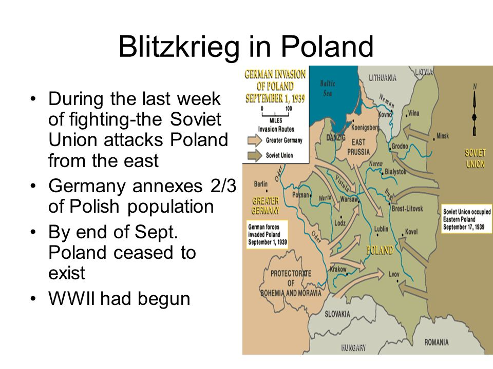 Blitzkrieg in Poland During the last week of fighting-the Soviet Union attacks Poland from the east Germany annexes 2/3 of Polish population By end of Sept.