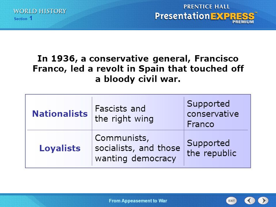 From Appeasement to War Section 1 In 1936, a conservative general, Francisco Franco, led a revolt in Spain that touched off a bloody civil war.