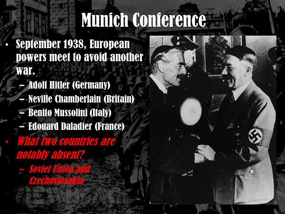 Munich Conference September 1938, European powers meet to avoid another war.