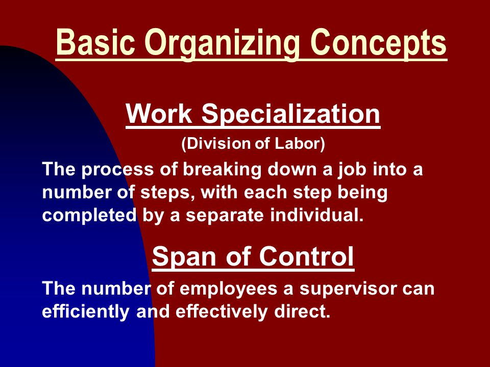 2 Basic Organizing Concepts Work Specialization (Division of Labor) The process of breaking down a job into a number of steps, with each step being co