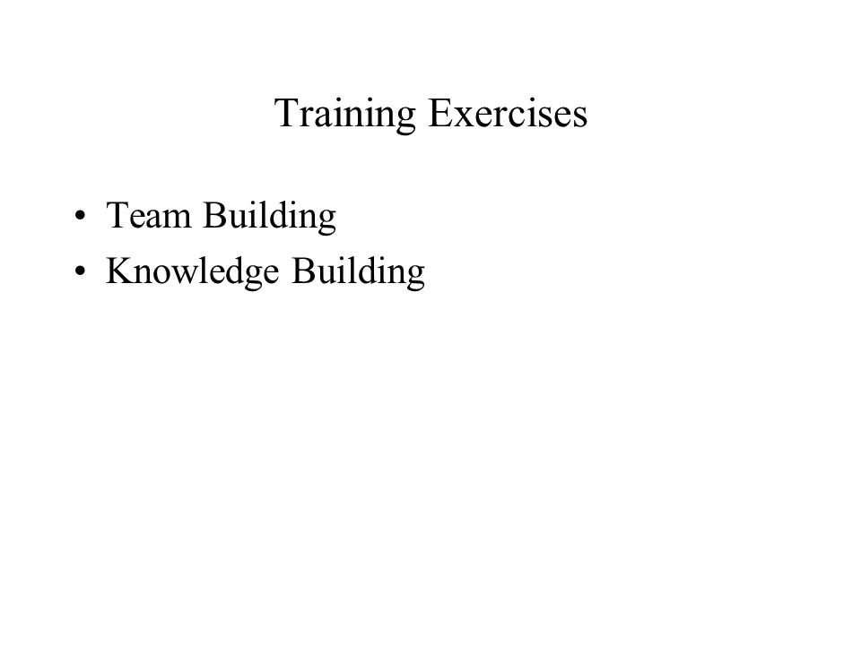 Training Exercises Team Building Knowledge Building