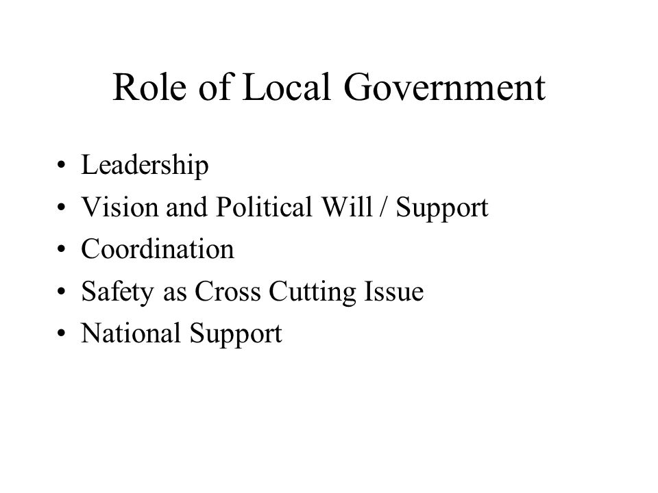 Role of Local Government Leadership Vision and Political Will / Support Coordination Safety as Cross Cutting Issue National Support
