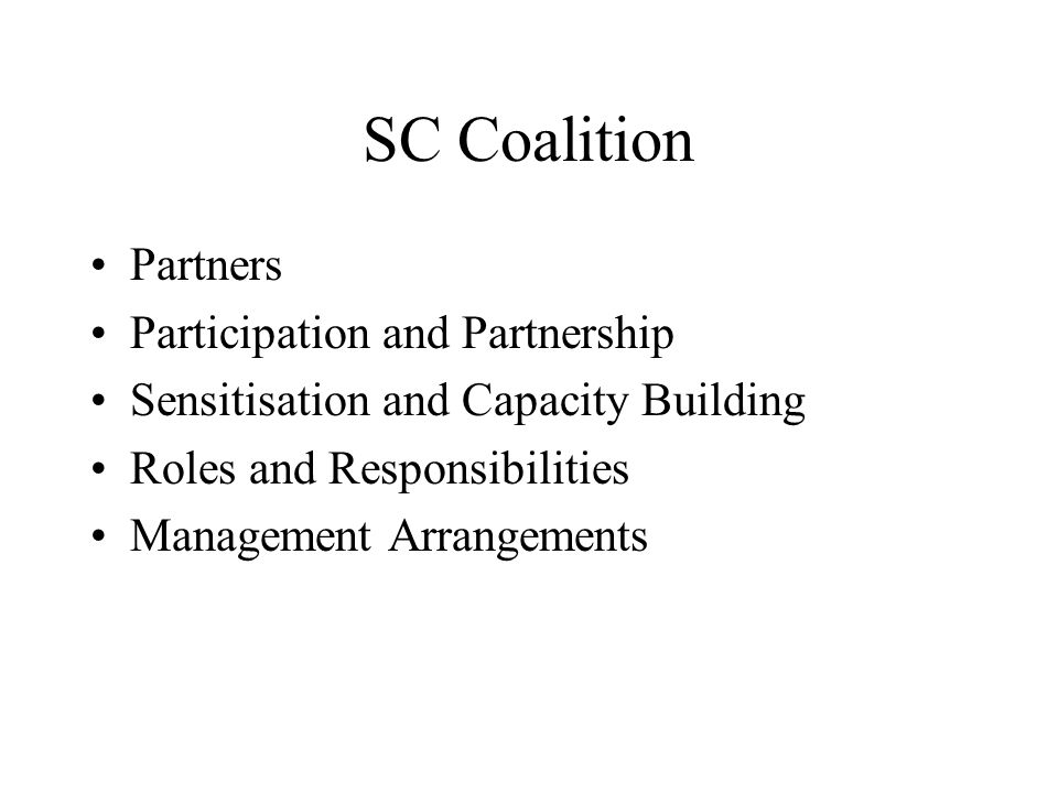 SC Coalition Partners Participation and Partnership Sensitisation and Capacity Building Roles and Responsibilities Management Arrangements