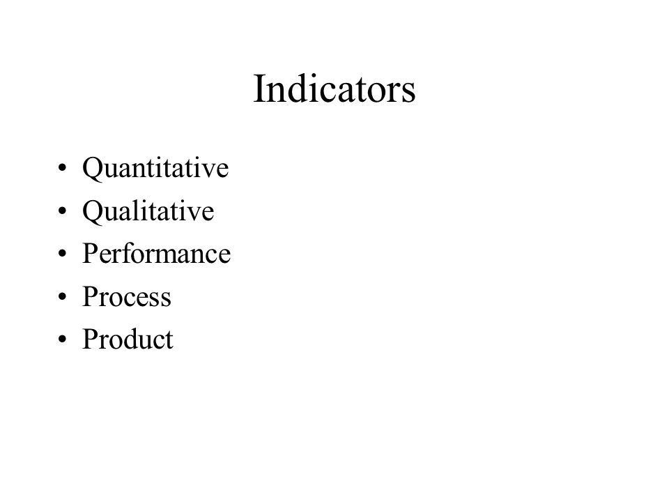 Indicators Quantitative Qualitative Performance Process Product
