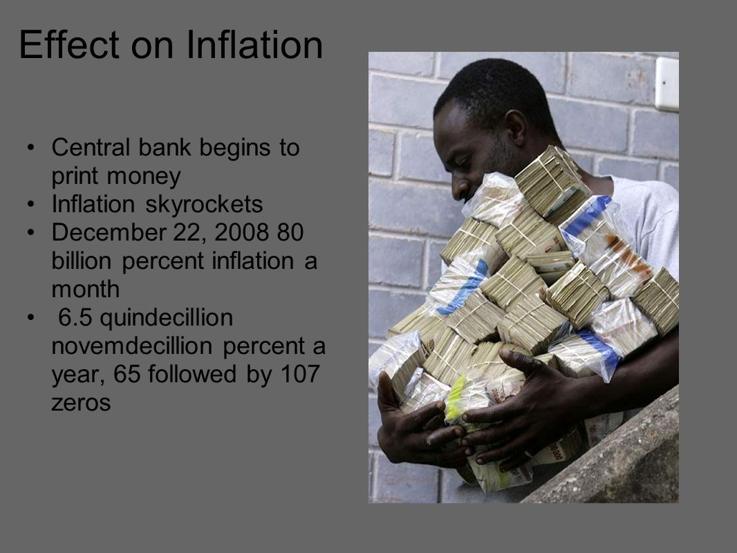 Effect on Inflation Central bank begins to print money Inflation skyrockets December 22, billion percent inflation a month 6.5 quindecillion novemdecillion percent a year, 65 followed by 107 zeros