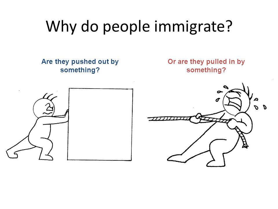 Why do people immigrate Are they pushed out by something Or are they pulled in by something