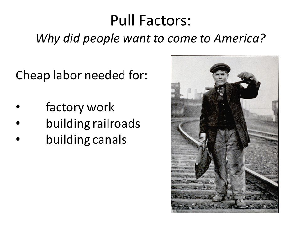 Pull Factors: Why did people want to come to America.