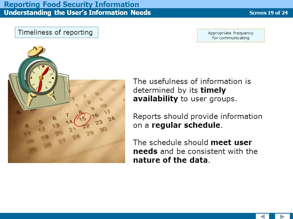 Screen 19 of 24 Reporting Food Security Information Understanding the User's Information Needs Timeliness of reporting The usefulness of information is determined by its timely availability to user groups.