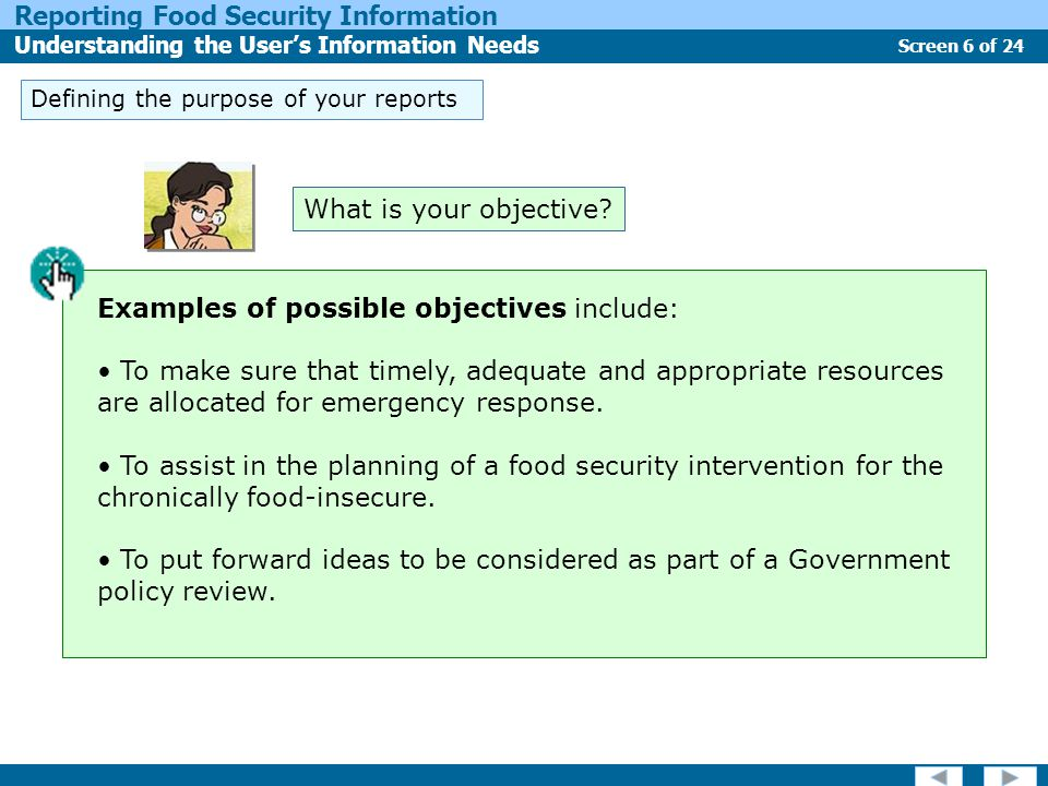 Screen 6 of 24 Reporting Food Security Information Understanding the User's Information Needs Defining the purpose of your reports Examples of possible objectives include: To make sure that timely, adequate and appropriate resources are allocated for emergency response.