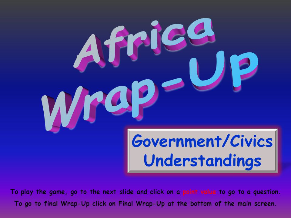 Government/Civics Understandings To play the game, go to the next slide and click on a point value to go to a question.